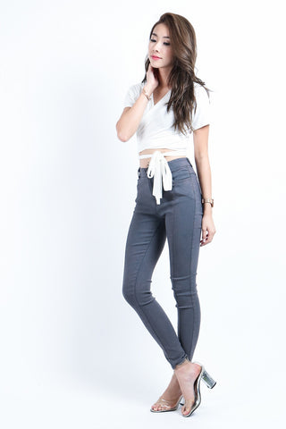 SLIM CUT DENIM JEGGINGS IN GREY