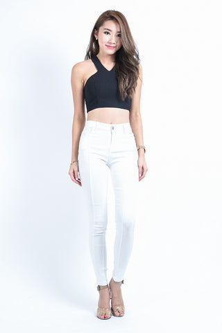 *RESTOCKED* SLIM CUT DENIM JEGGINGS IN WHITE