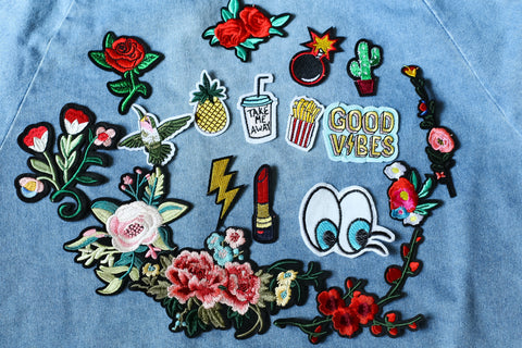 AMARYLLIS FLORAL EMBROIDERY IRON ON PATCH - TOPAZETTE
