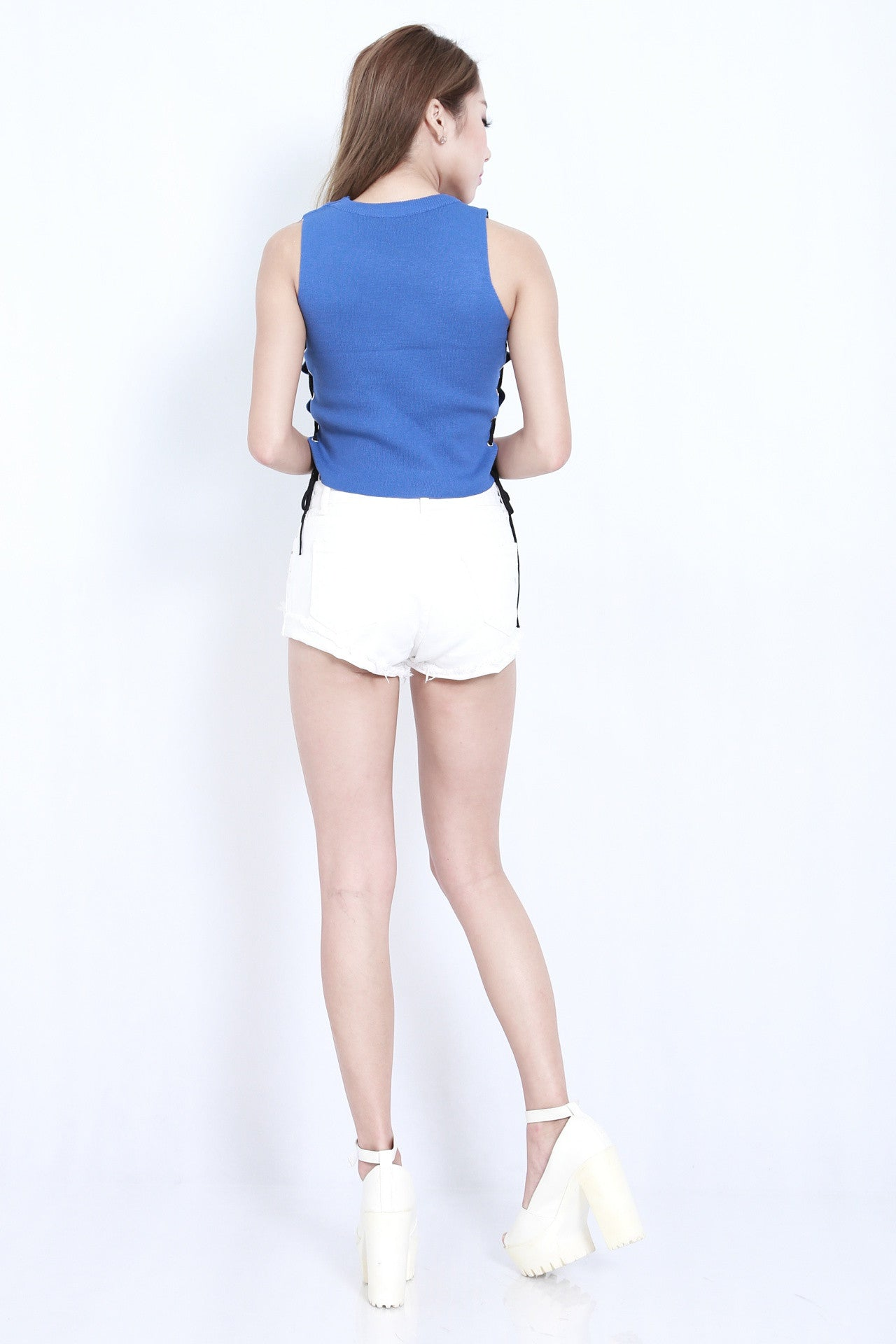 (RESTOCKED) OVEREASY LACED KNIT TOP IN BLUE - TOPAZETTE
