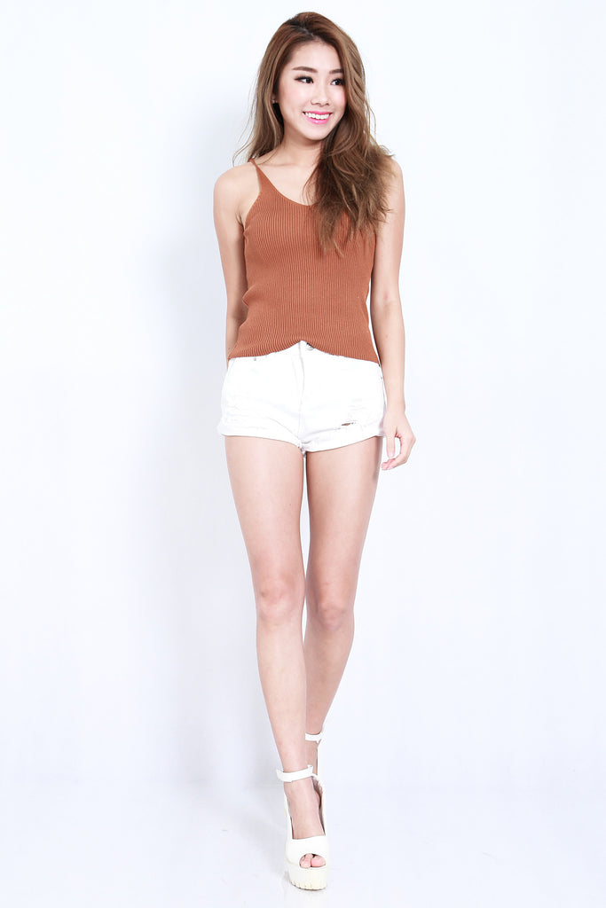 (RESTOCKED) KAIA KNIT TOP IN KHAKI - TOPAZETTE