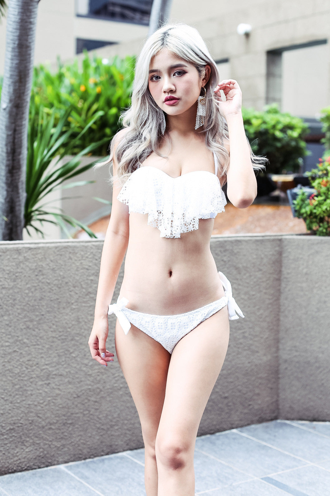 CROCHET SWEETHEART BIKINI SET IN WHITE - TOPAZETTE