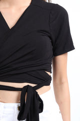 (RESTOCKED) WRAP AROUND TOP IN BLACK (SHORT SLEEVE) - TOPAZETTE