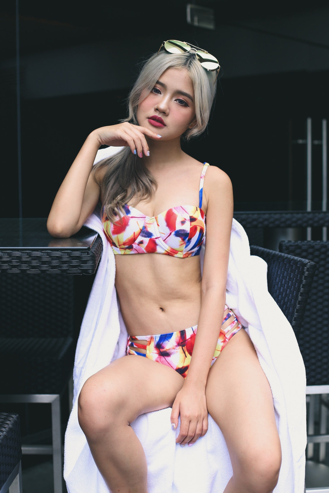 BY THE POOLSIDE CAGED BACK BIKINI SET IN WATERCOLOUR - TOPAZETTE