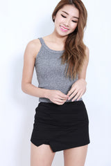 CUT IN KNIT TOP IN GREY - TOPAZETTE
