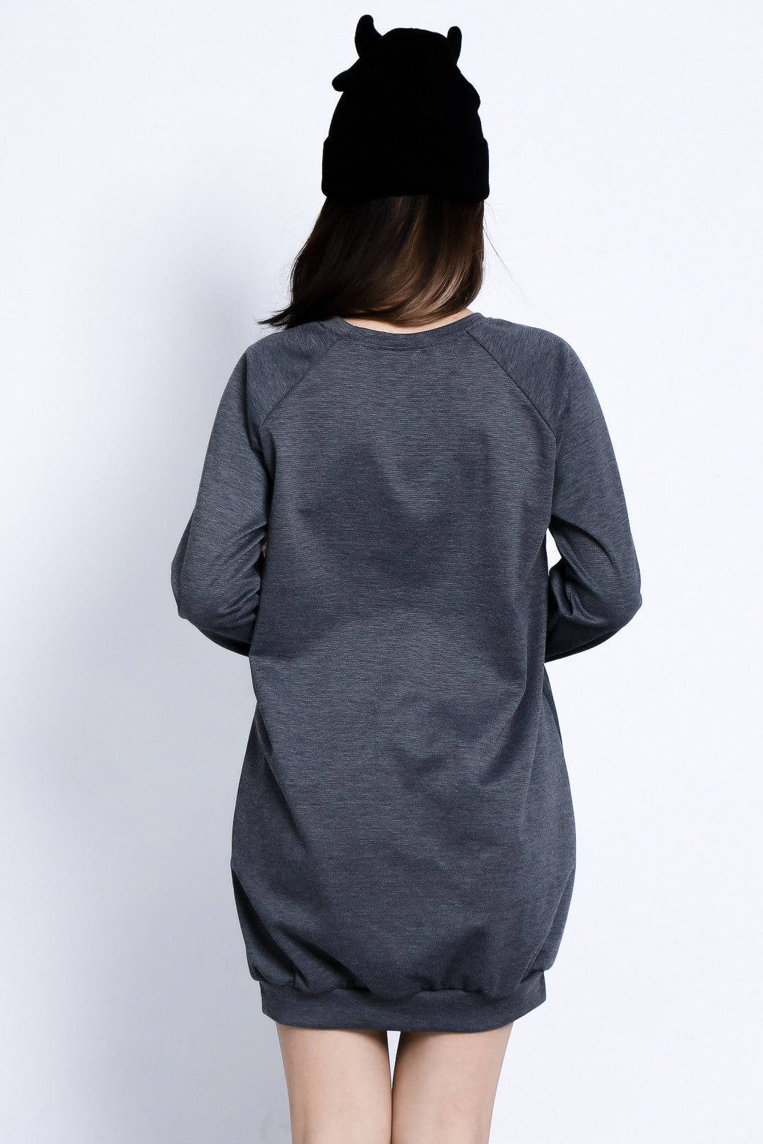 (RESTOCKED) MEOW PULLOVER DRESS IN GREY - TOPAZETTE