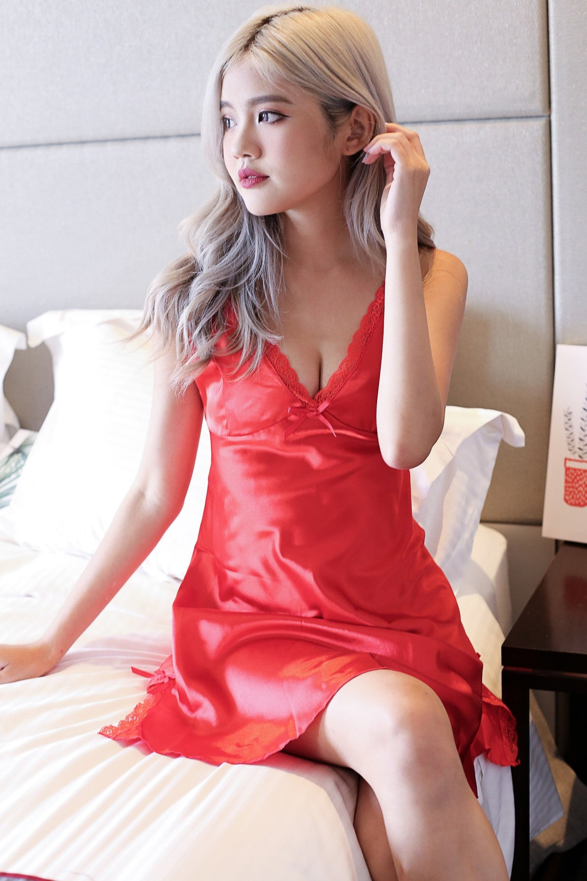 LUXE SATIN NIGHT GOWN IN FIERY RED - TOPAZETTE