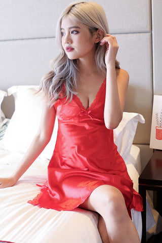LUXE SATIN NIGHT GOWN IN FIERY RED