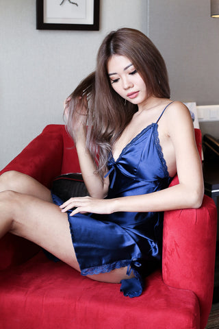 LUXE SATIN NIGHT GOWN IN MIDNIGHT BLUE - TOPAZETTE