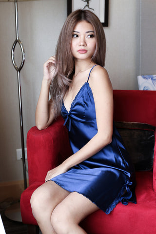 LUXE SATIN NIGHT GOWN IN MIDNIGHT BLUE