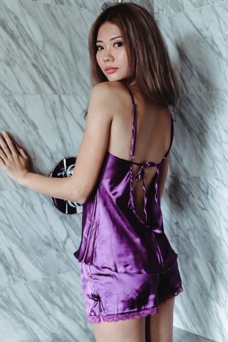 LUXE SATIN LINGERIE SET IN ROYAL PURPLE - TOPAZETTE