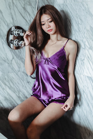 LUXE SATIN LINGERIE SET IN ROYAL PURPLE