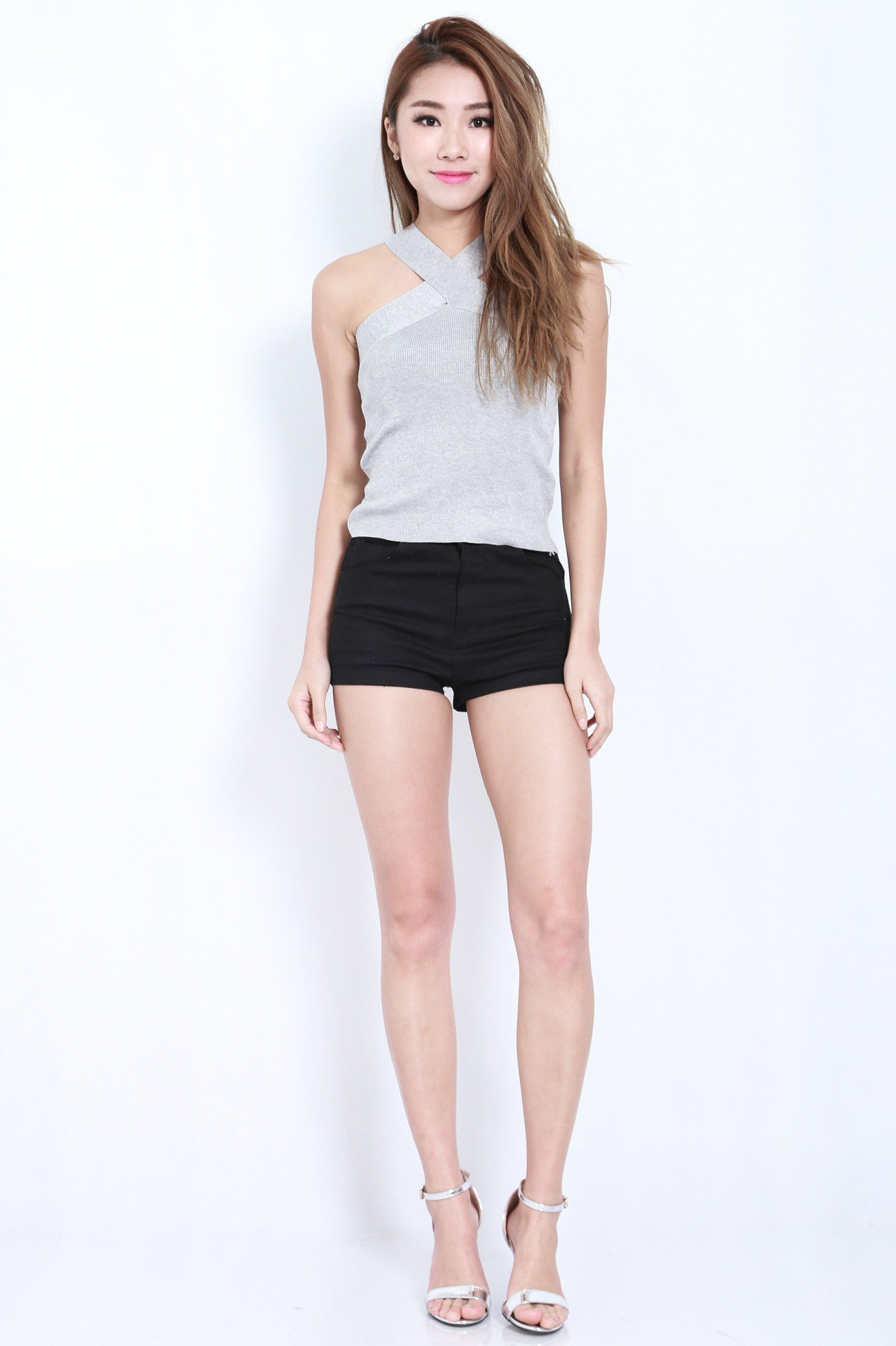 (RESTOCKED) CROSS WRAP KNIT TOP IN GREY - TOPAZETTE