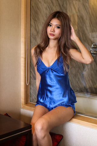 LUXE SATIN LINGERIE SET IN ROYAL BLUE - TOPAZETTE