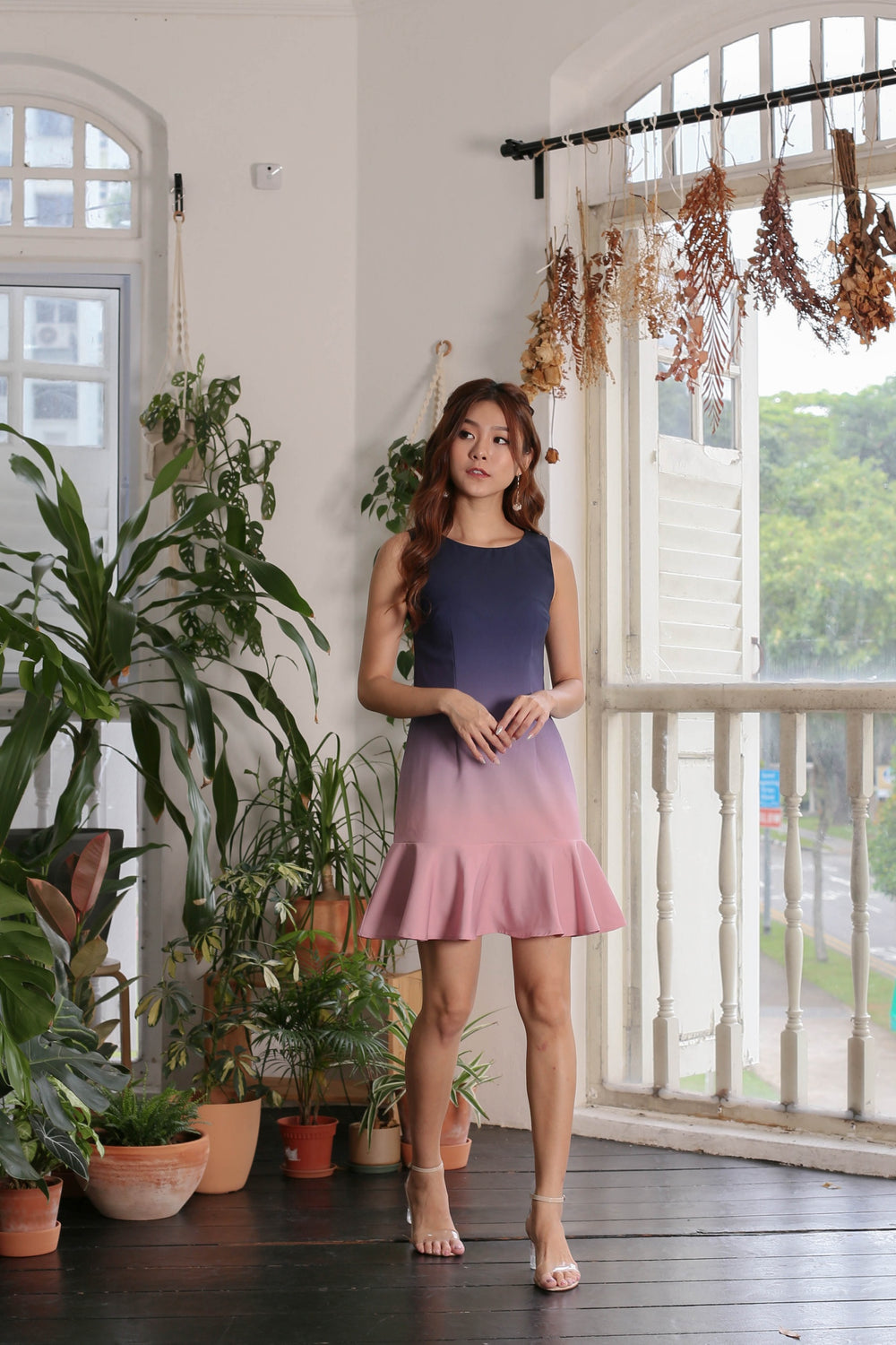 *TPZ* (PREMIUM) GLOW MERMAID OMBRE DROP WAIST DRESS (NAVY/ PINK)