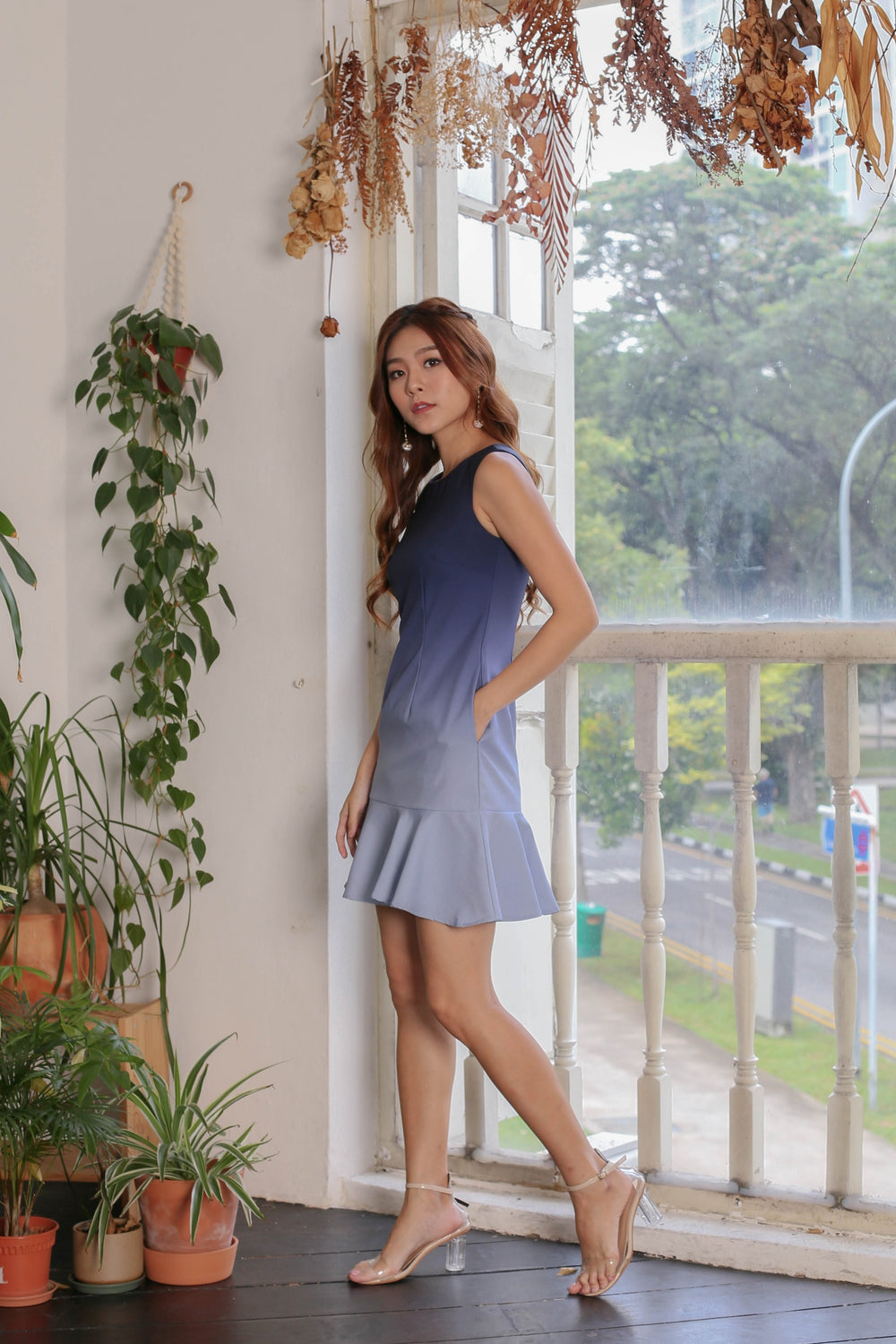 *TPZ* (PREMIUM) GLOW MERMAID OMBRE DROP WAIST DRESS (NAVY/ GREY)
