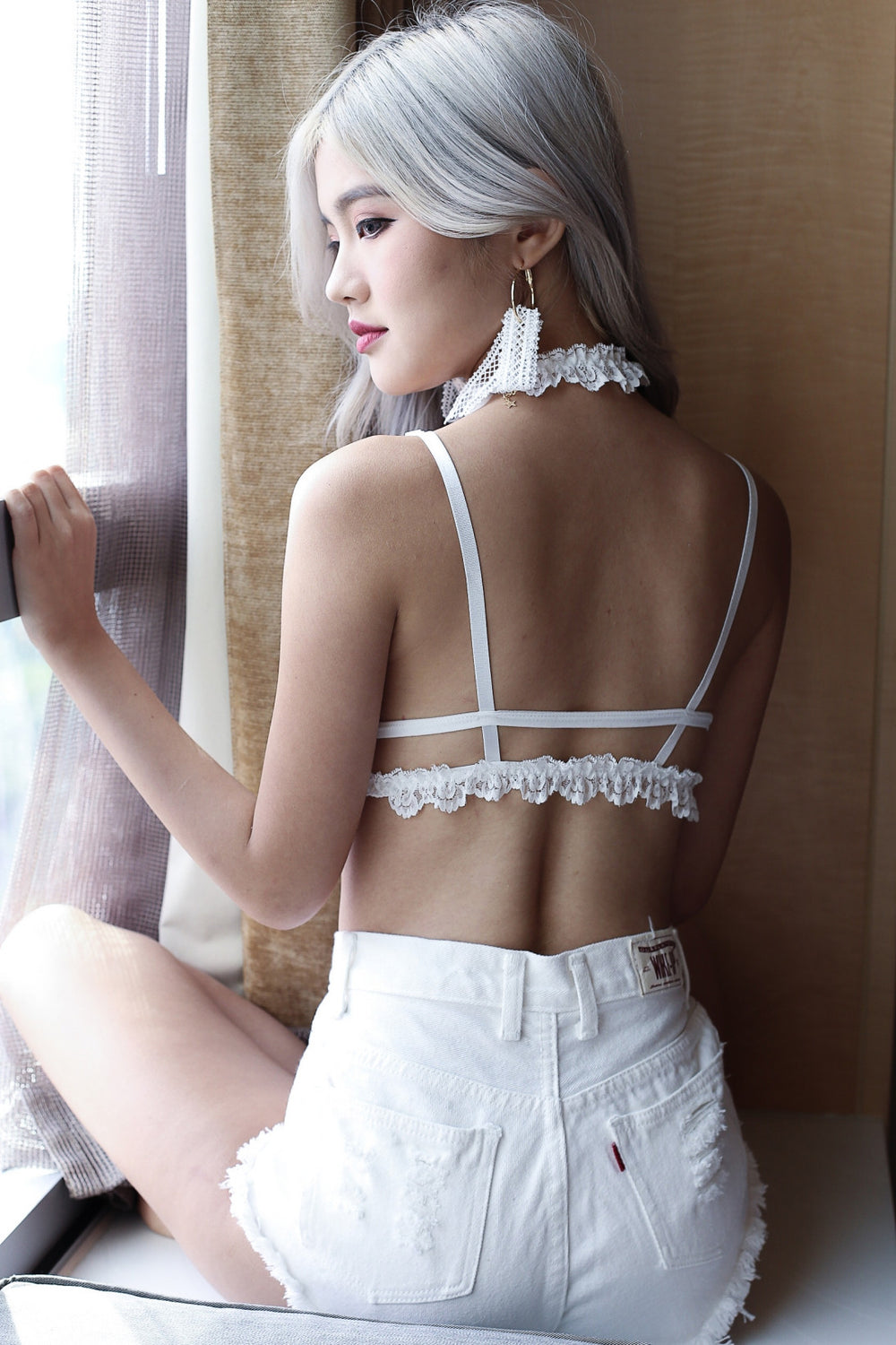 VICTORIAN CAGED BRALETTE (BLACK/ WHITE)