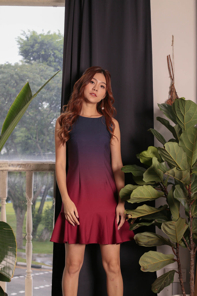 *TPZ* (PREMIUM) GLOW MERMAID OMBRE DROP WAIST DRESS (NAVY/ BURGUNDY)