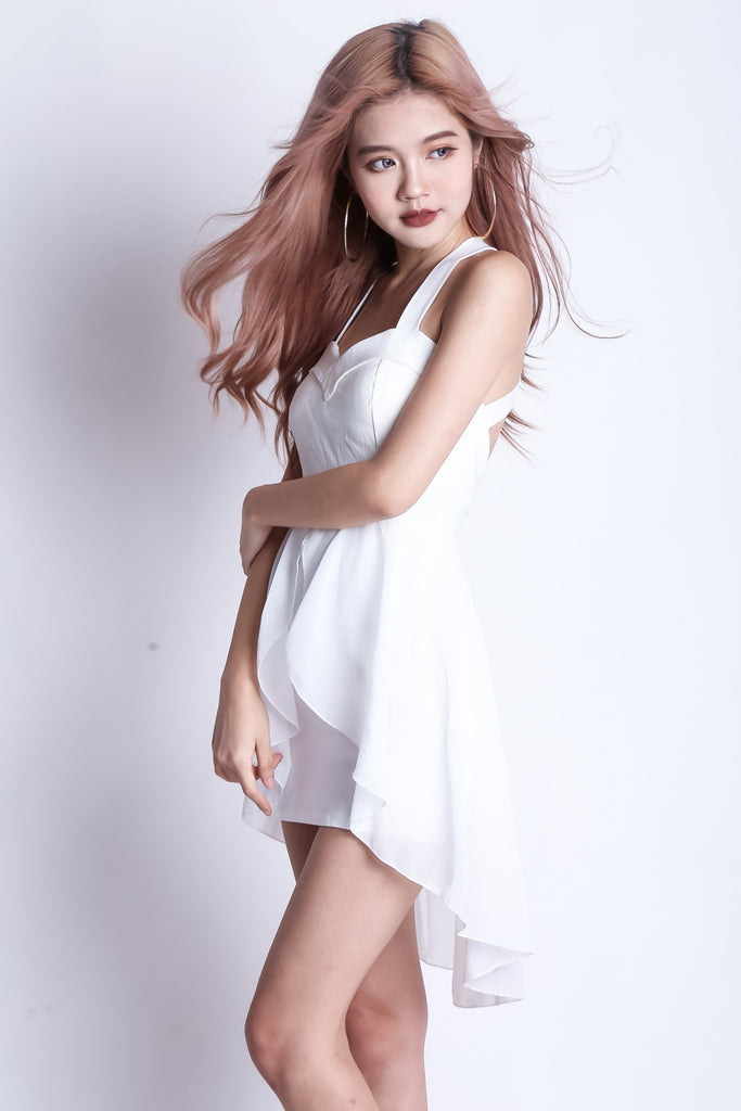 *RESTOCKED* ERIN ASYMMETRICAL DRESS IN WHITE - TOPAZETTE
