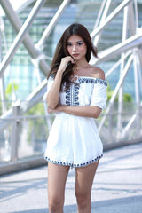 (RESTOCKED II) #MADEBYTPZ INEZ EMBROIDERY ROMPER IN WHITE - TOPAZETTE
