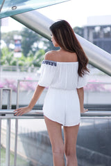 *RESTOCKED* (TOPAZ) INEZ EMBROIDERY ROMPER IN WHITE - TOPAZETTE