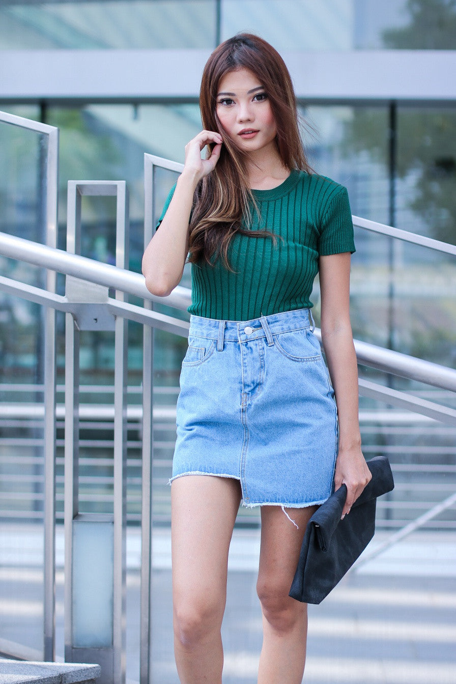 954c5c2a99286 (RESTOCKED 4) HIGH SCHOOL KNIT TOP IN FOREST - TOPAZETTE
