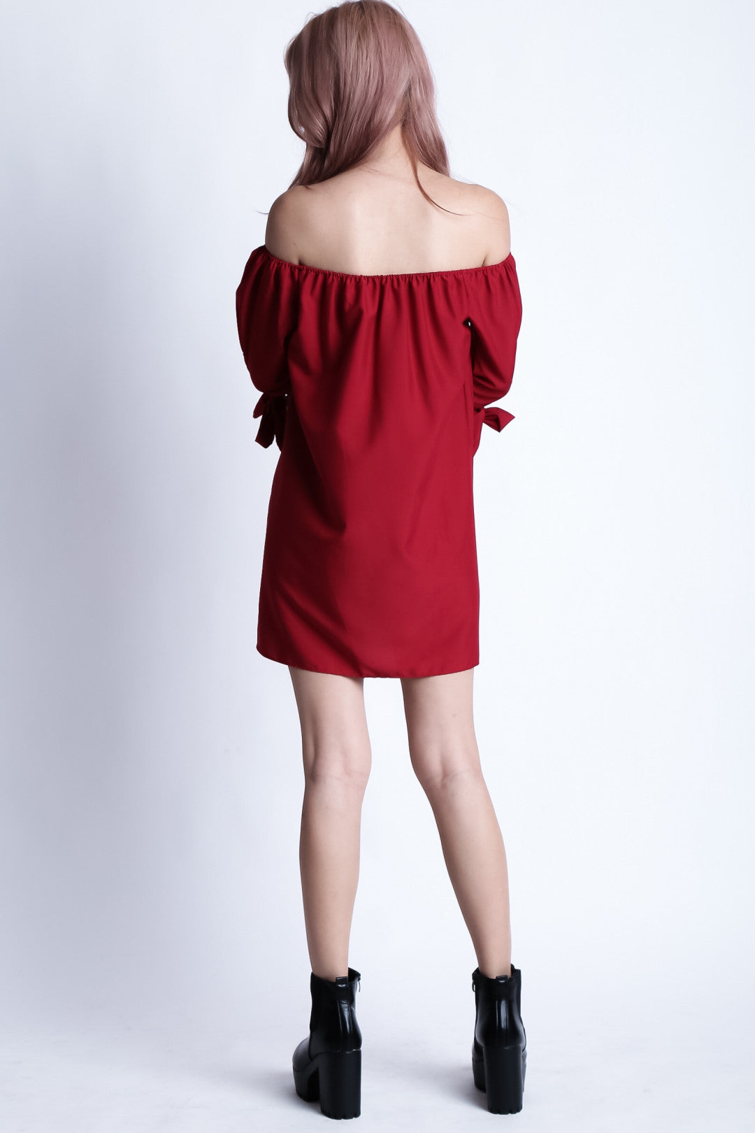 *RESTOCKED* ESTELLA RIBBON OFFSIE DRESS IN WINE - TOPAZETTE