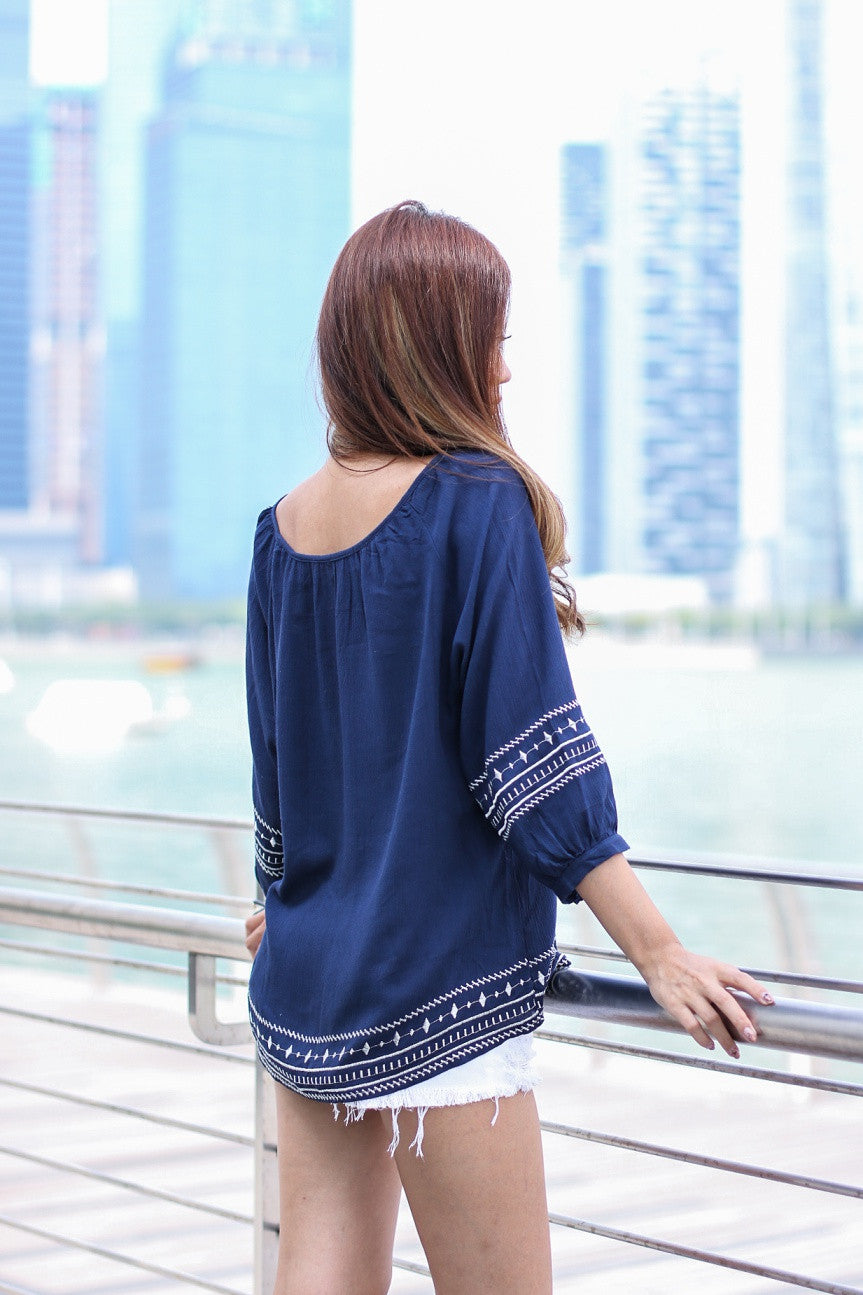 (RESTOCKED) #MADEBYTPZ BEACHFRONT BOHO TUNIC IN NAVY - TOPAZETTE