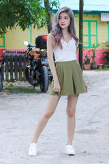 #MADEBYTPZ EASY THERE SKORTS IN OLIVE - TOPAZETTE