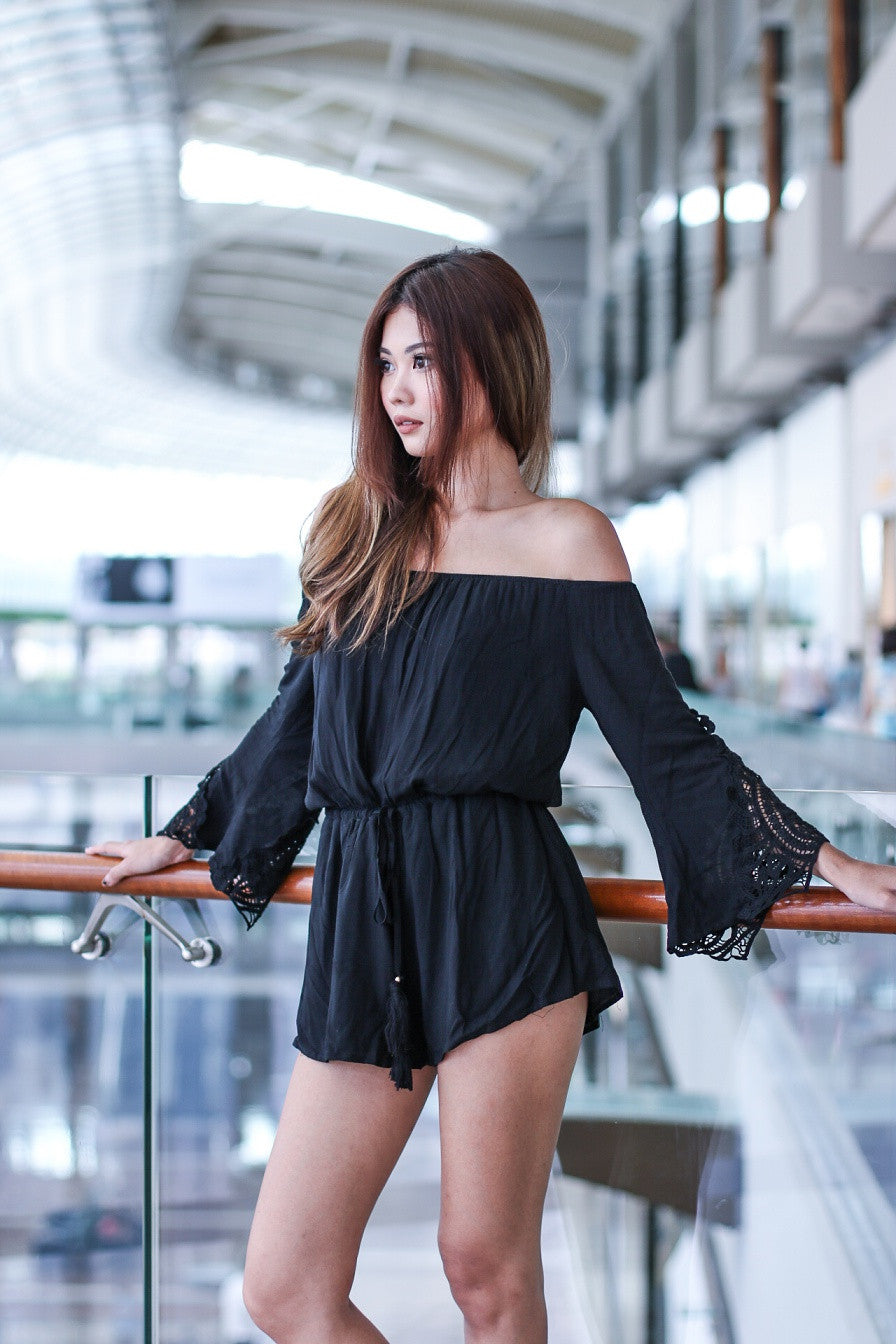 (RESTOCKED 4) #MADEBYTPZ DREAM BOHO CROCHET ROMPER IN BLACK - TOPAZETTE