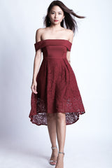 *TOPAZ* (PREMIUM) ALYSSA LACE DRESS IN WINE