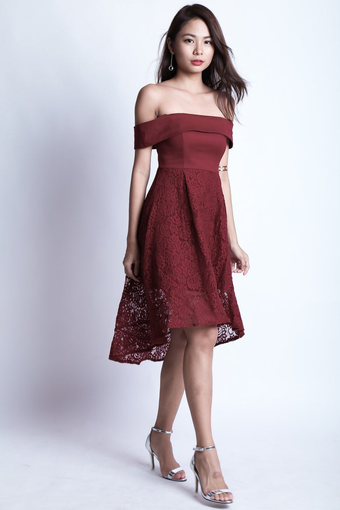 *TOPAZ* (PREMIUM) ALYSSA LACE DRESS IN WINE - TOPAZETTE