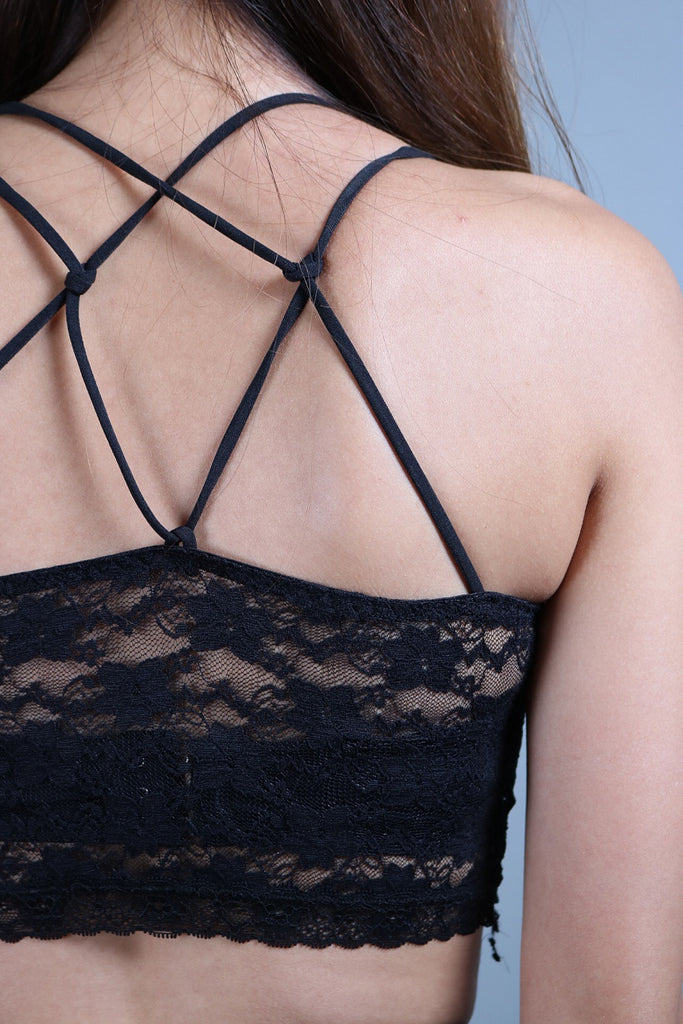 HIGH QUALITY STRAPPY LACE BRA TOP IN BLACK - TOPAZETTE