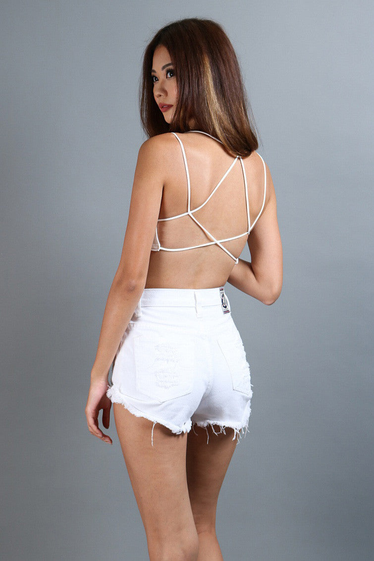 HIGH QUALITY WEBBED BACK BRA TOP IN WHITE - TOPAZETTE