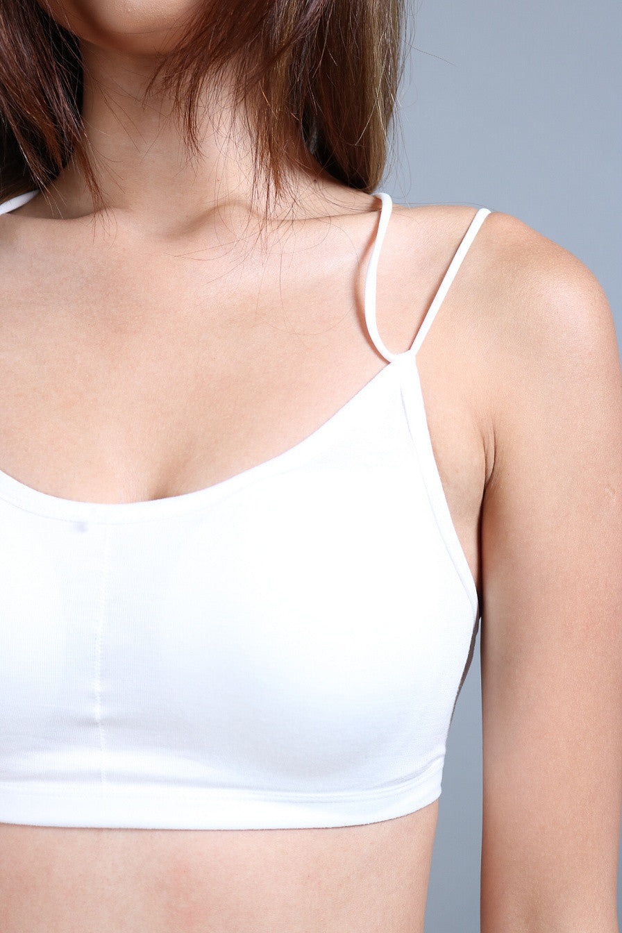 HIGH QUALITY WEBBED BACK BRA TOP IN WHITE