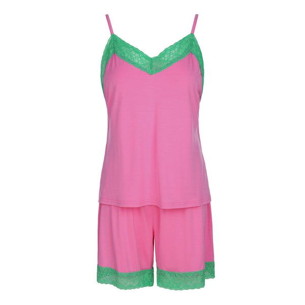 Cami and Short Set, Pink and Green