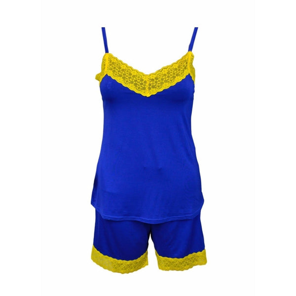 Cami and Short Set, Blue and Gold
