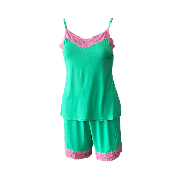 Cami and Short Set, Green and Pink