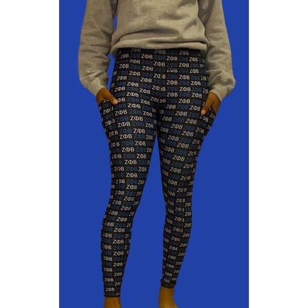 Leggings Tights, Zeta Print with Pockets
