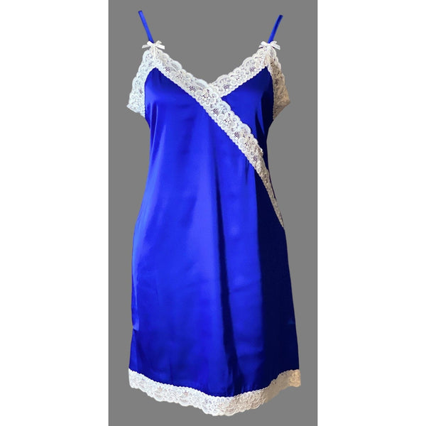 Satin Slip, Blue - White Lace