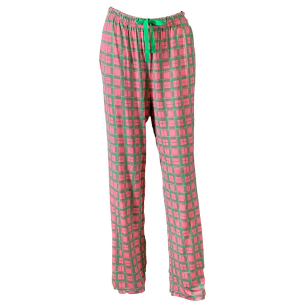 Plaid Lounge Pants - Pink and Green
