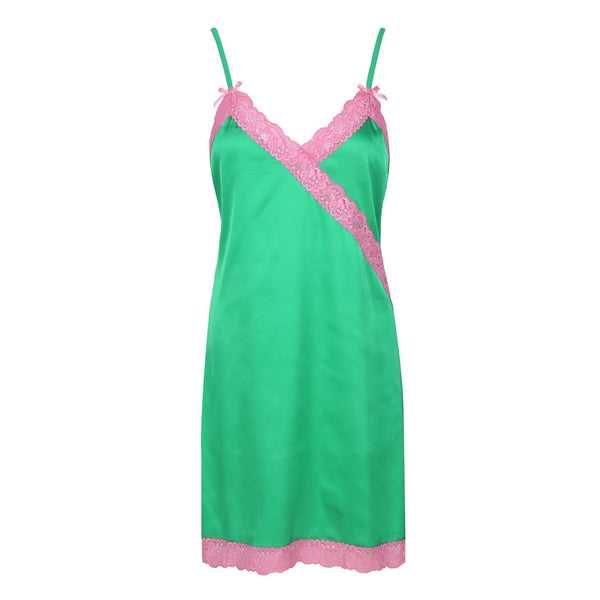 Satin Slip, Green - Pink Lace