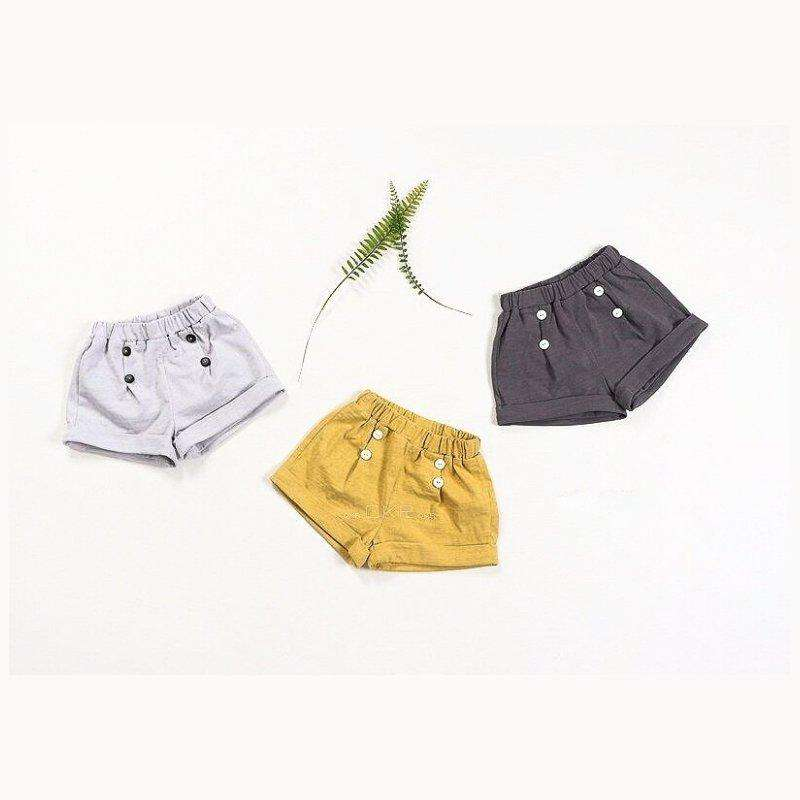 Pleated Button Cotton Shorts - Choulala Box