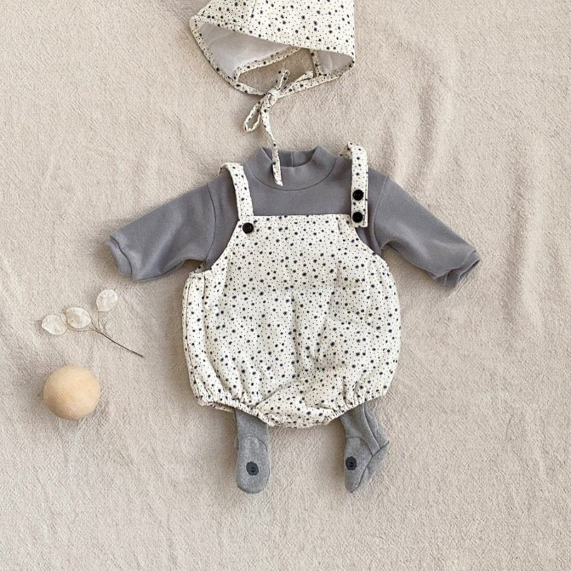 Snow Flower Suspender Suit with Bonnet - Choulala Box