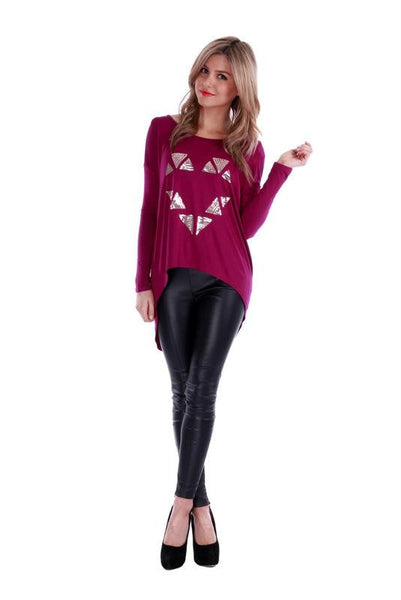 Queen of Hearts Top Mulberry - Fashion Flash Boutique