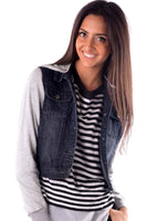 Double Black Denim Jacket - Fashion Flash Boutique