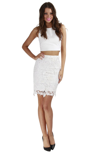 Matilda Lace Skirt White - Fashion Flash Boutique