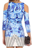 Blue Rose Cut Out Dress - Fashion Flash Boutique