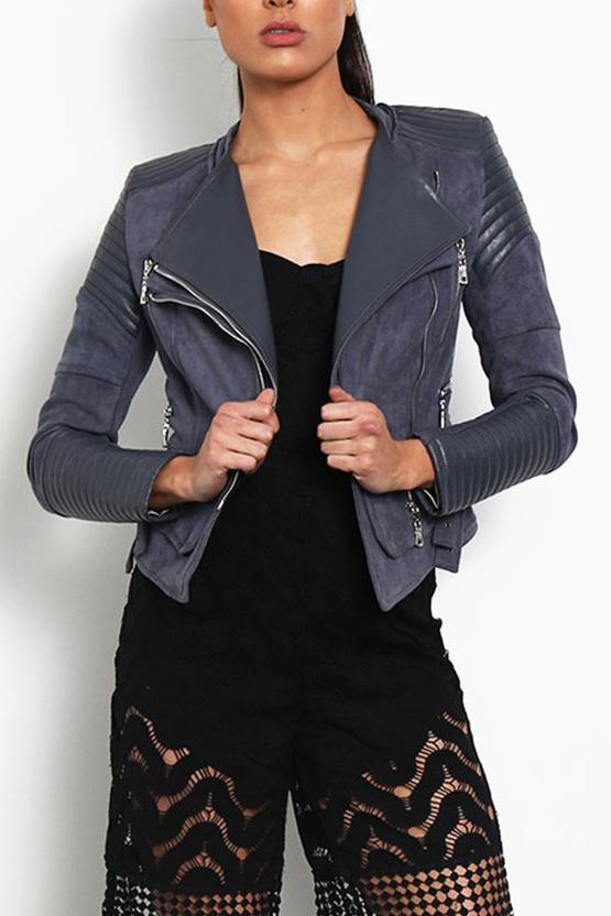 BESSY BIKER JACKET - CHARCOAL - Fashion Flash Boutique