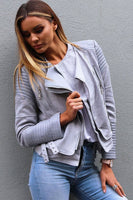 BESSY BIKER JACKET - GREY - Fashion Flash Boutique
